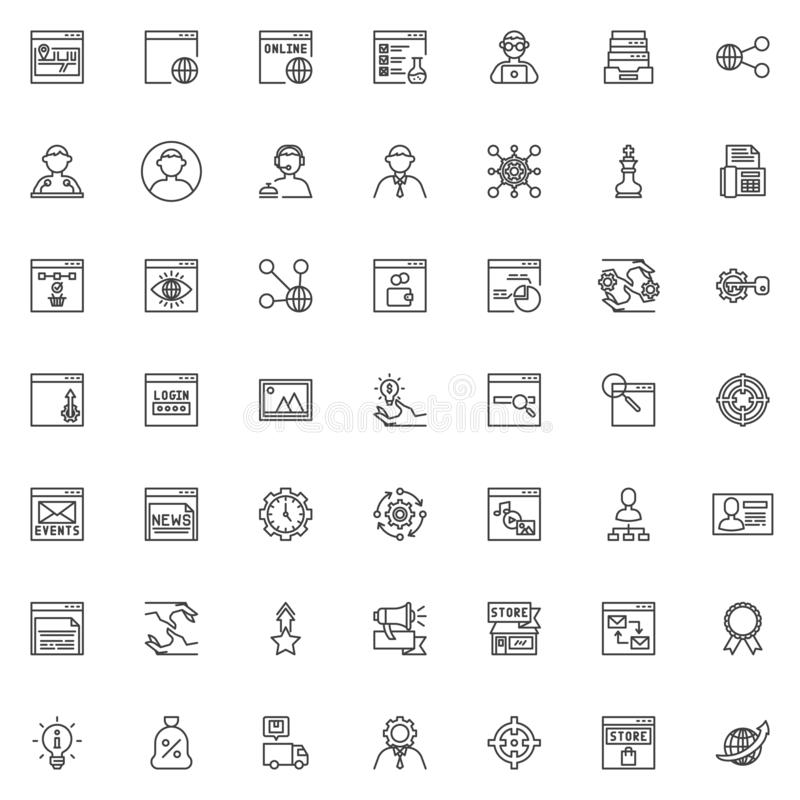 SEO and Internet service line icons set royalty free illustration