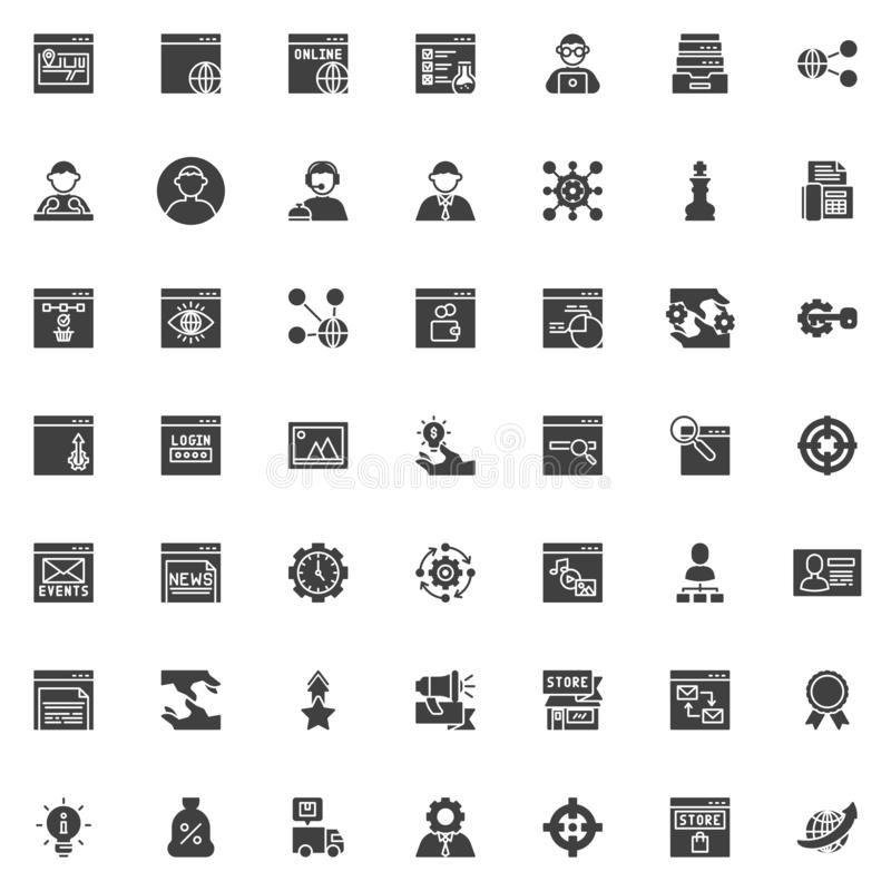 SEO and Internet service vector icons set stock illustration