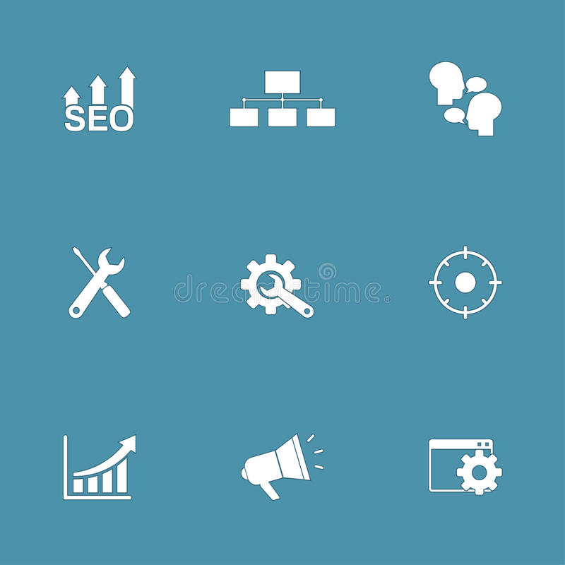 SEO Internet Sign Vector Icon-Reeks 5 vector illustratie