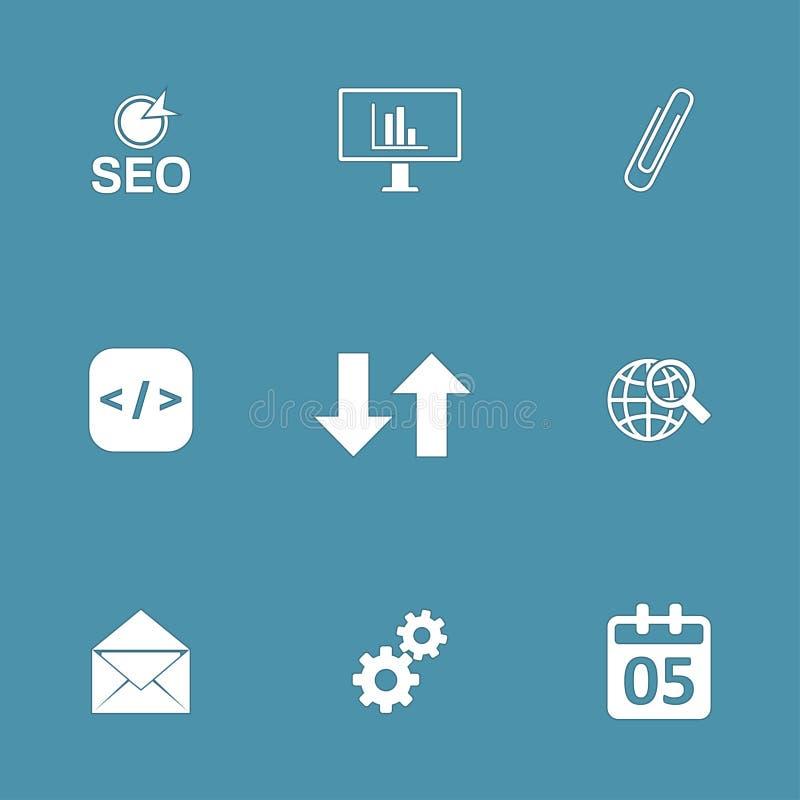 SEO Internet Sign Vector Icon-Reeks 6 stock illustratie