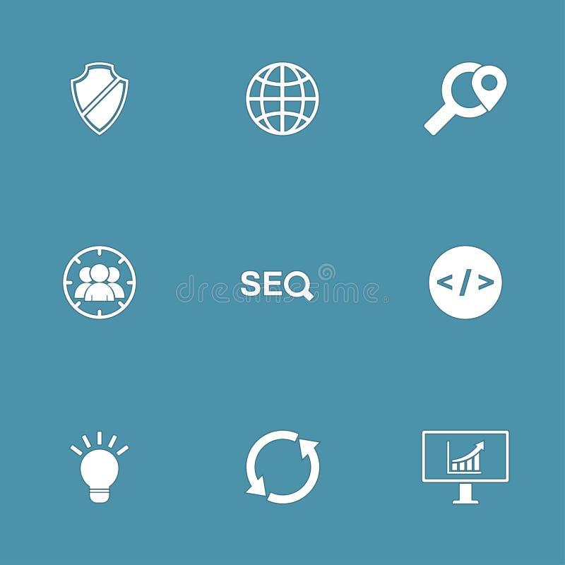 SEO Internet Sign Vector Icon-Reeks 2 stock illustratie