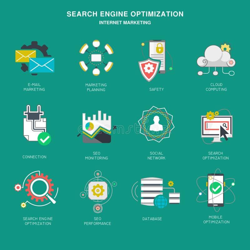 Seo interneta marketingowe ikony, nowożytny płaski projekta wektor ilustracji