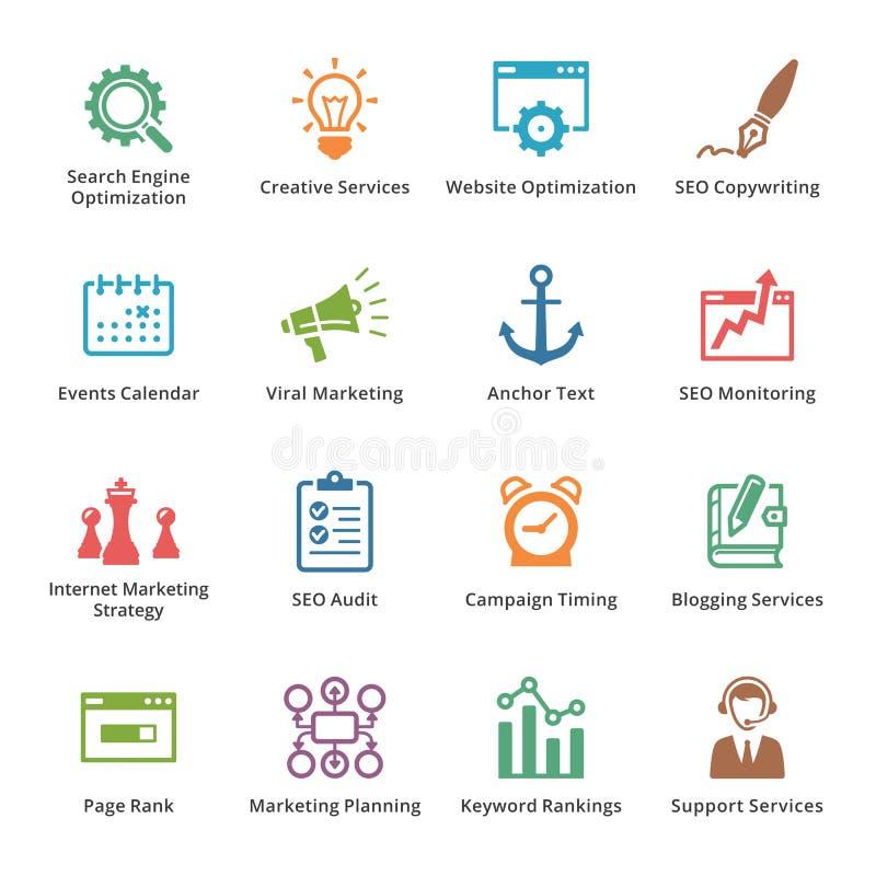 SEO & internetmarknadsföringssymboler - uppsättning 5 | Kulör serie royaltyfri illustrationer