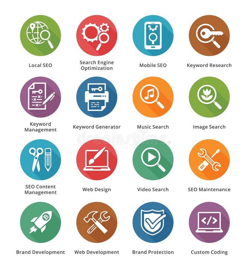 SEO & internetmarknadsföringssymboler - uppsättning 1   Lång skuggaserie vektor illustrationer