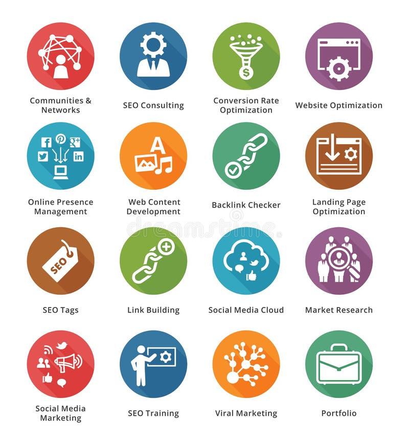 SEO & internetmarknadsföringssymboler - uppsättning 2   Lång skuggaserie stock illustrationer