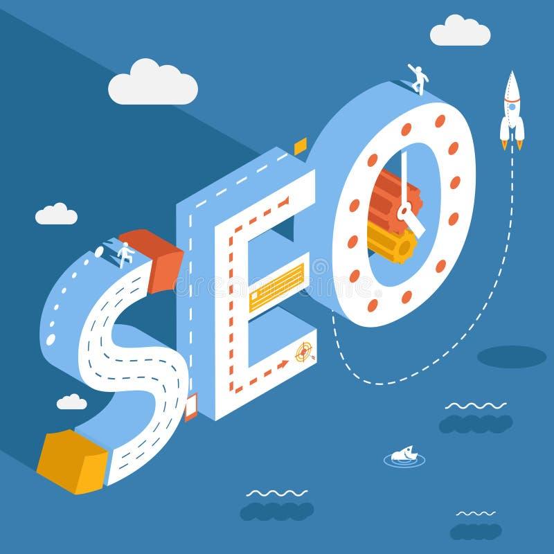 SEO isométrique, recherche d'Internet de succès illustration libre de droits