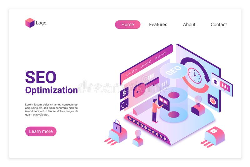 SEO isometric landing page vector template vector illustration