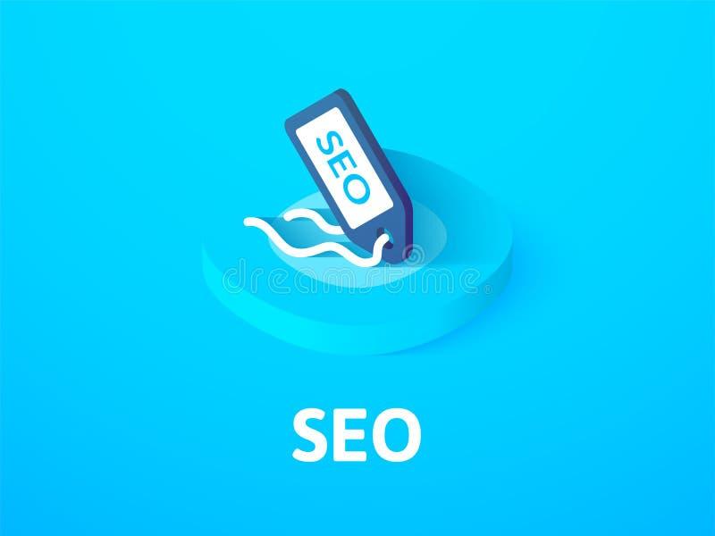SEO - isometrisk symbol för sökandemotoroptimization som isoleras på färgbakgrund stock illustrationer