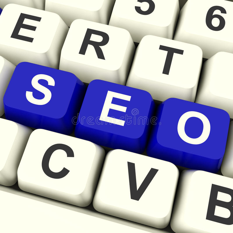Seo Keys Representing Internet Optimization en Bevordering royalty-vrije stock afbeelding