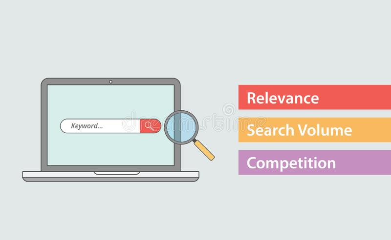 Seo keyword attribute with three most important things like relevance search volume and competition stock illustration
