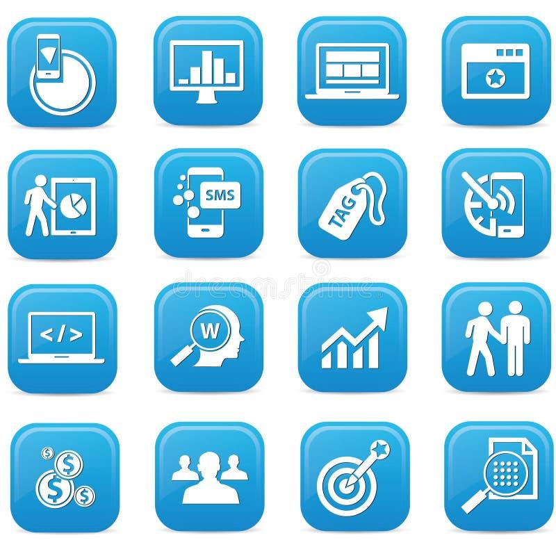 SEO-knappar, blå version vektor illustrationer