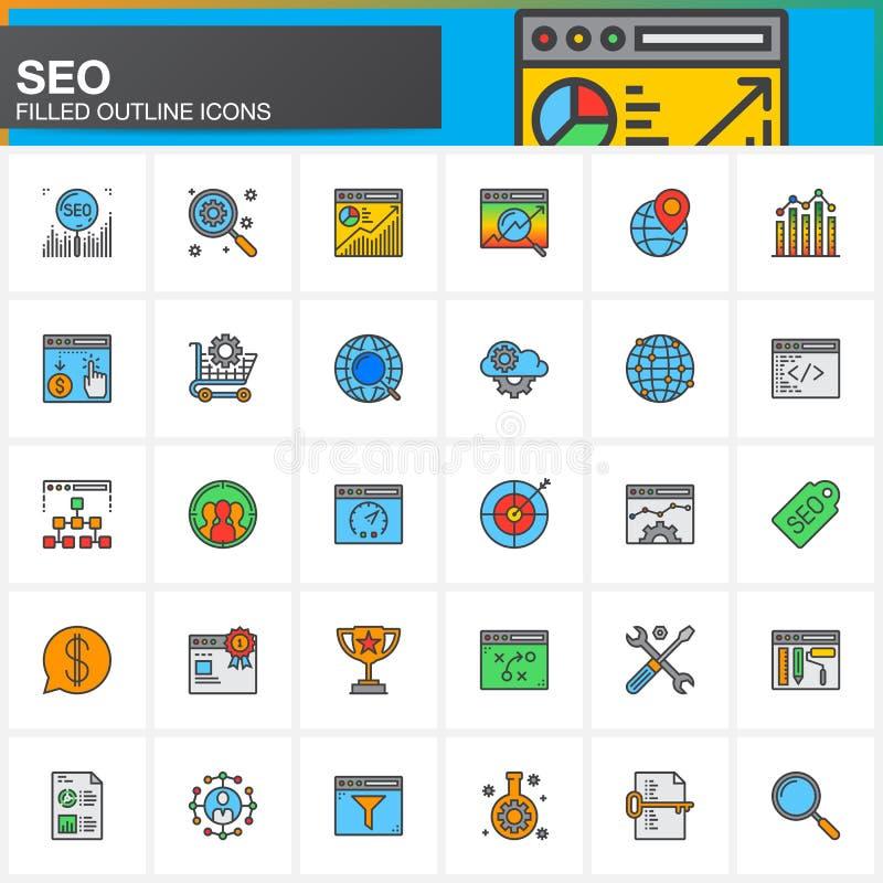 SEO, línea iconos de la optimización del Search Engine fijó, colección llenada del símbolo del vector del esquema, pictograma col stock de ilustración