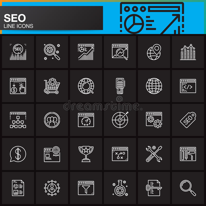 SEO, línea iconos fijados, colección del símbolo del vector del esquema, paquete linear de la optimización del Search Engine del  ilustración del vector