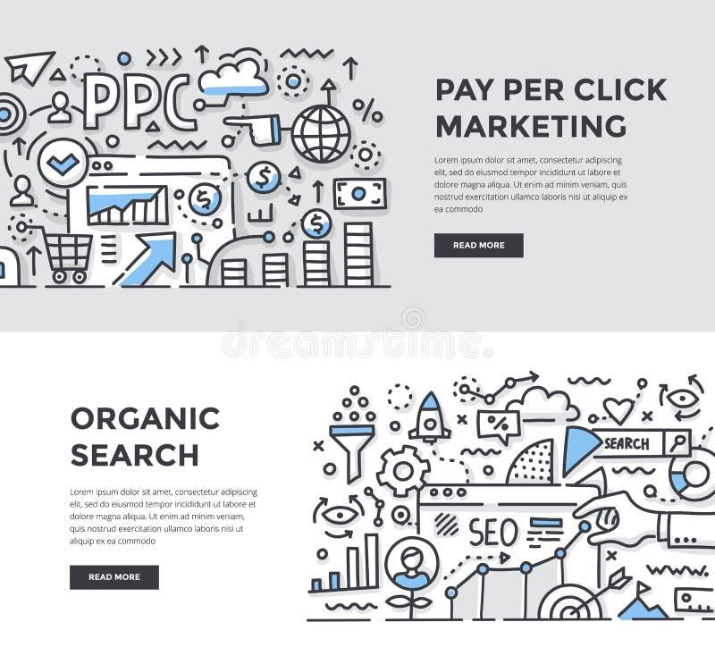 SEO & lön per klickDooddle baner vektor illustrationer