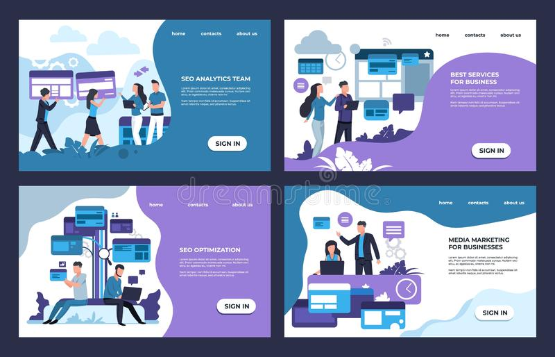 SEO landing page. Internet analytic, business and online marketing web site template. Vector banners with cartoon. SEO landing page. Internet analytic, business royalty free illustration