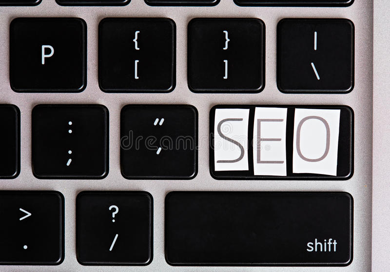 SEO letters on keyboard button stock photos