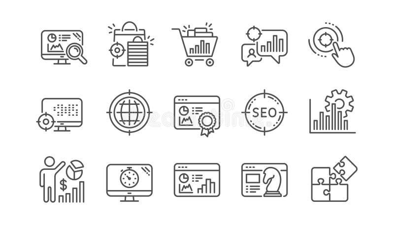 SEO Line Icons Öka försäljningar, affärsstrategi och sökandeoptimization Linjär symbolsuppsättning vektor stock illustrationer