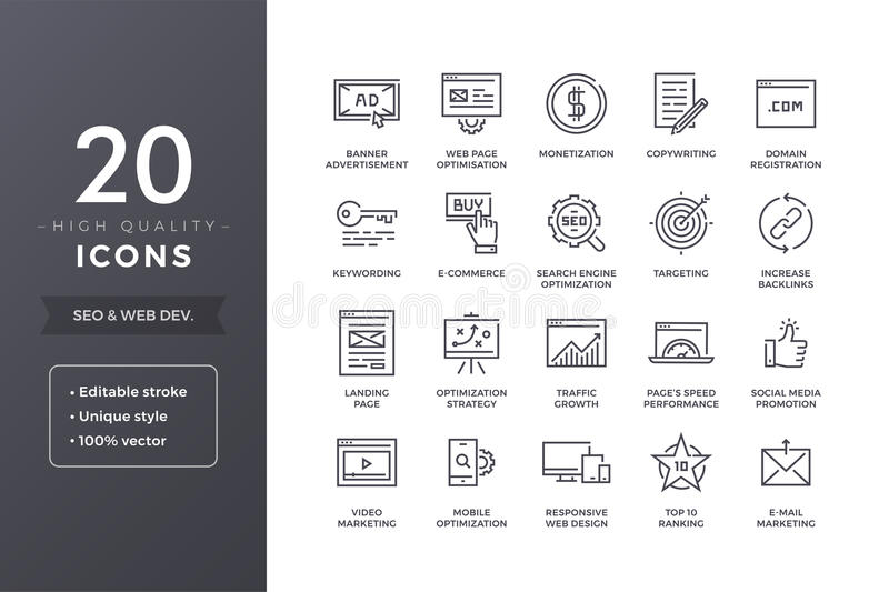 SEO Line Icons lizenzfreie abbildung