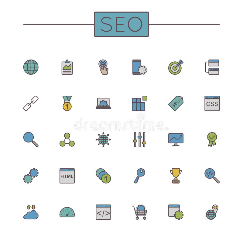 SEO Line Icons coloreado vector stock de ilustración