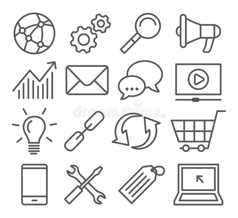 SEO Line Icons stock illustration