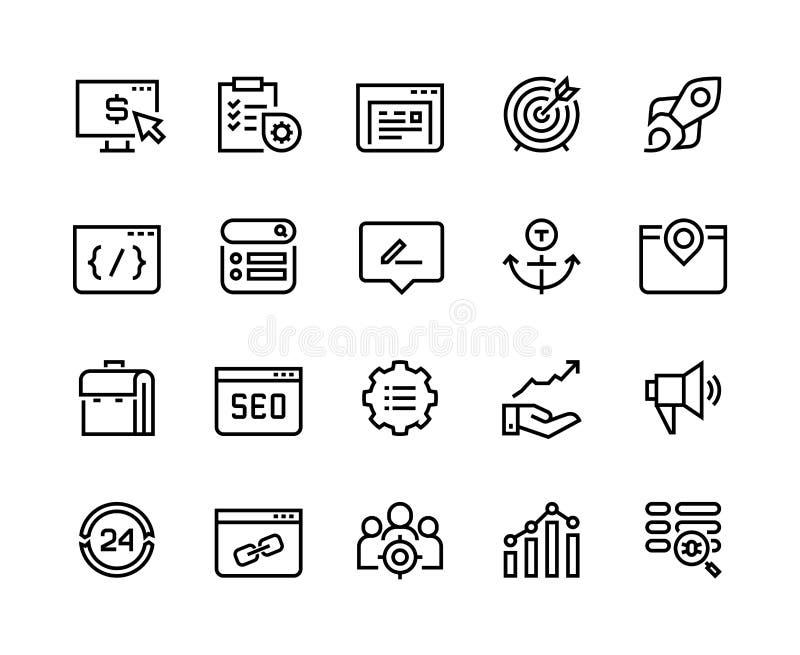 SEO Line Icons Netzgeschäftstendenz-Netzplantechnik-Medienziel-Strategiewebsite analytisch Begriffsbild mit Schl?sselwortwolke um vektor abbildung