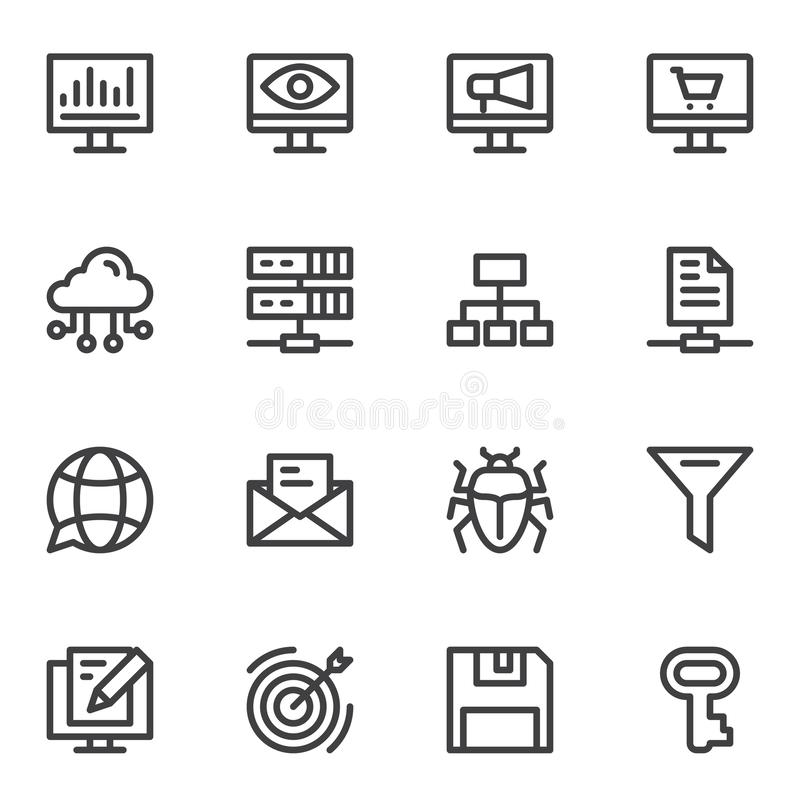 SEO line icons set. Linear style symbols collection outline signs pack. vector graphics. Set includes icons as computer monitor, network, cloud computing stock illustration