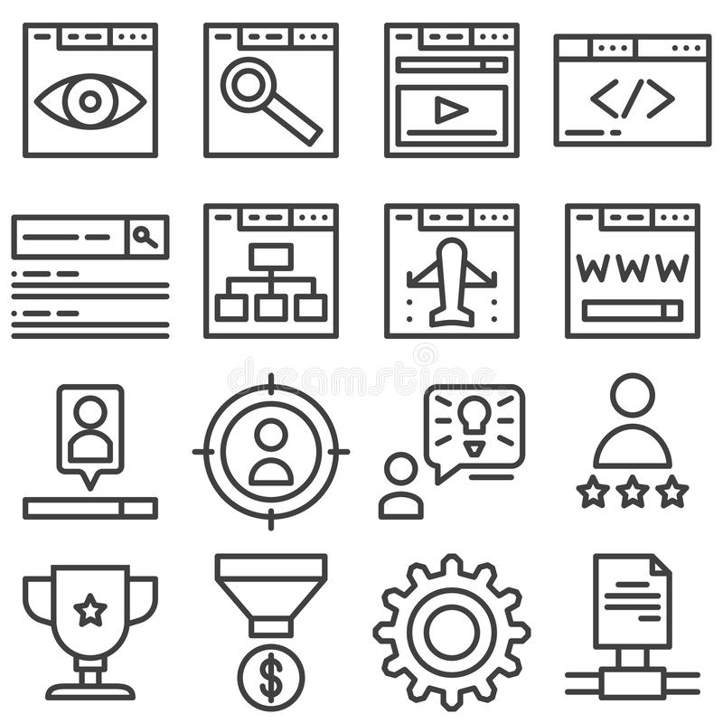 SEO line icons set. Linear style symbols collection, outline signs pack. vector graphics. Set includes icons as web search, monitoring, developing, browser vector illustration