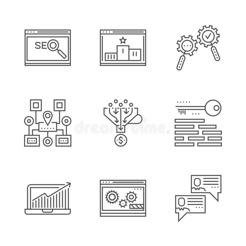 SEO line icons set. SEO Related Vector Line Icon. Isolated on White Background. Social chanels, keywording, sales funnel, sitemap navigation, search process vector illustration