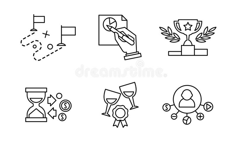 SEO line icons set, search engine optimization business processes, marketing, website development elements vector royalty free illustration