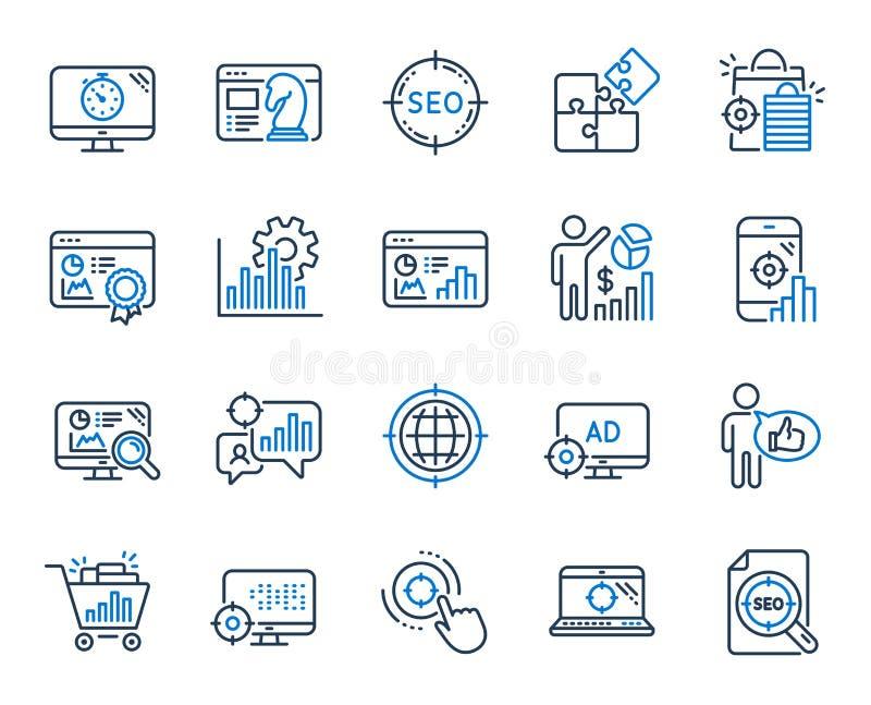 SEO Line Icons Ställ in av förhöjningförsäljningar, affärsstrategi och Websiteoptimization vektor vektor illustrationer