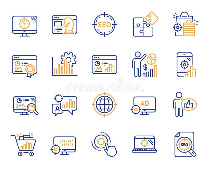 SEO Line Icons Stellen Sie von den Zunahmeverkäufen, von der Geschäftsstrategie und von der Websiteoptimierung ein Vektor stock abbildung