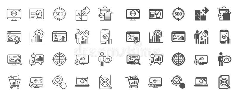 SEO Line Icons Stellen Sie von den Zunahmeverk?ufen, von der Gesch?ftsstrategie und von der Websiteoptimierung ein Vektor lizenzfreie abbildung