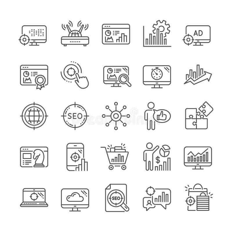 SEO Line Icons Stellen Sie von den Zunahmeverk?ufen, von der Gesch?ftsstrategie und von der Websiteoptimierung ein Vektor stock abbildung