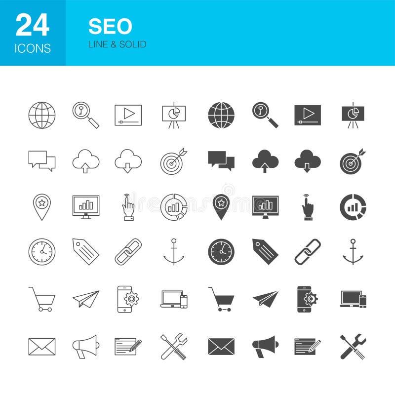 SEO Line Web Glyph Icons ilustração stock
