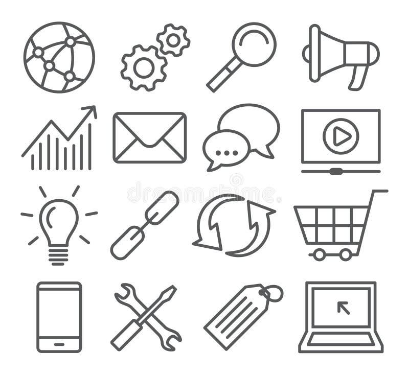 SEO linii ikony ilustracji