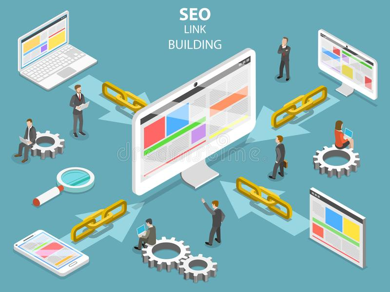 SEO link building flat isometric vector concept. royalty free illustration