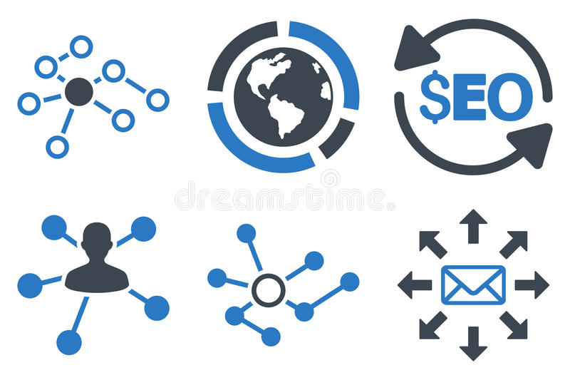 Seo Link Building Flat Vector Icons vector illustration