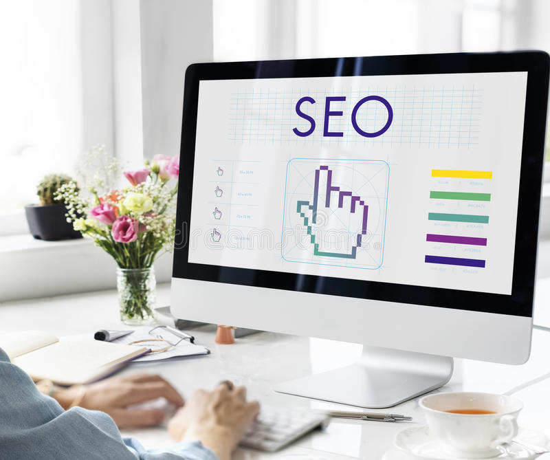 Seo Links Webinar Hand Cyberspace Concept royalty free stock images
