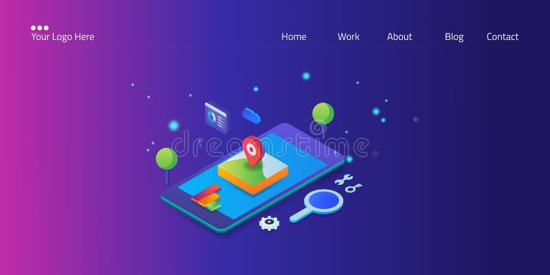 Seo local, otimização móvel, bandeira isométrica da Web do conceito do mercado da busca com ícone e texto ilustração stock