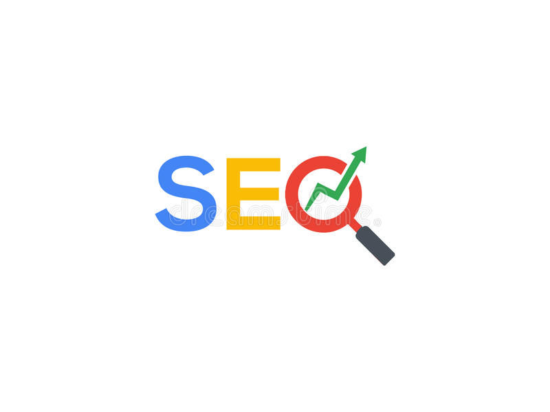 SEO Logo with magnifying glass royalty free illustration
