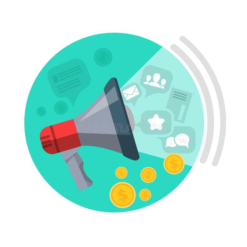 SEO Loud Speaker Web Button Márketing de negocio stock de ilustración