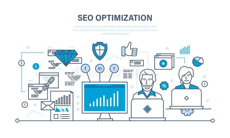Seo, méthodes d'optimisation et outils, protection de l'information d'analyse illustration de vecteur