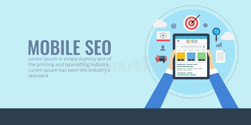 Seo móvil - optimización del Search Engine para los dispositivos digitales Bandera plana del seo del diseño stock de ilustración