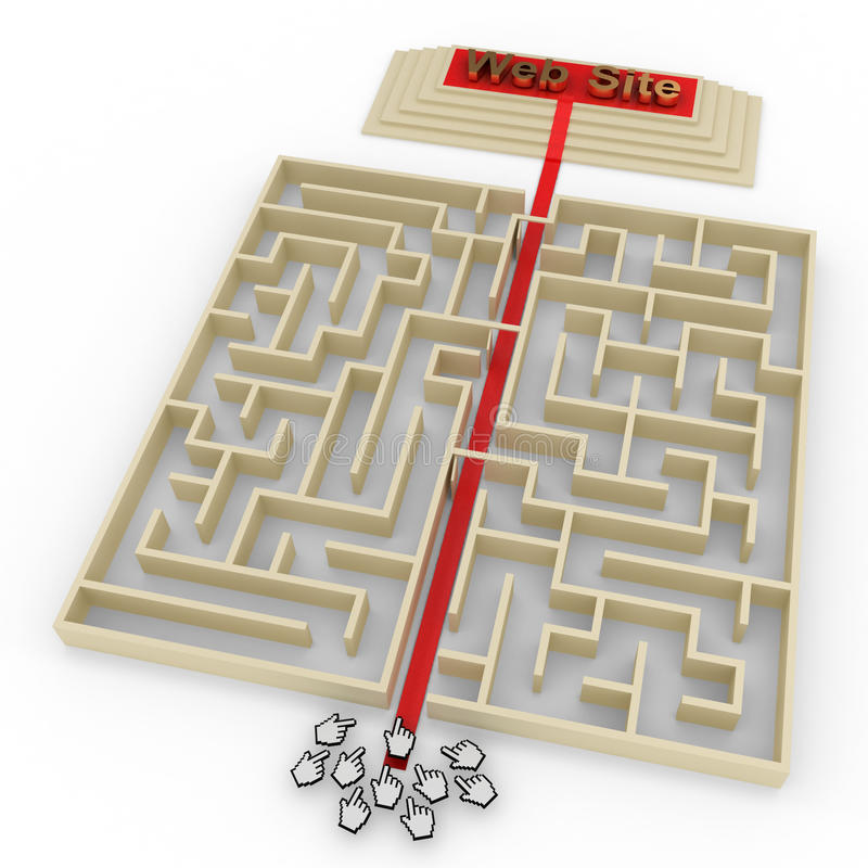 SEO Magic. A SEO managed websites getting direct clicks without having to pass through the maze of the internet vector illustration