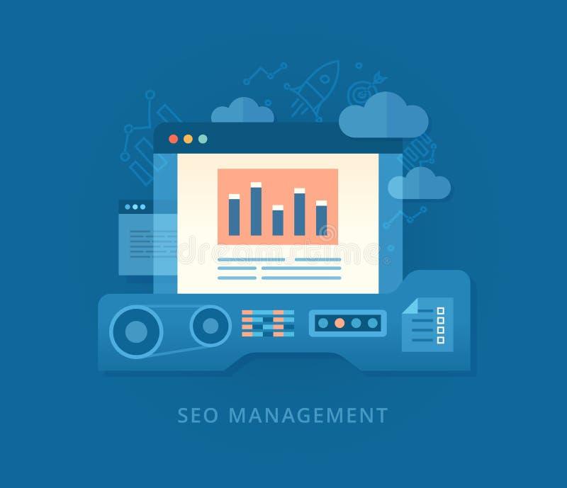 Seo Management e estratégia tornando-se ilustração royalty free