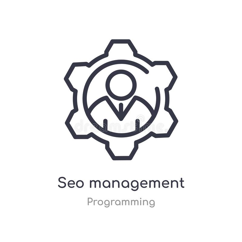 Seo management outline icon. isolated line vector illustration from programming collection. editable thin stroke seo management. Icon on white background royalty free illustration