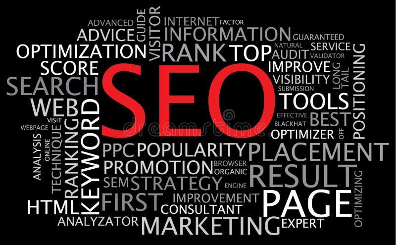 SEO - Manifesto di ottimizzazione di Search Engine di vettore illustrazione di stock