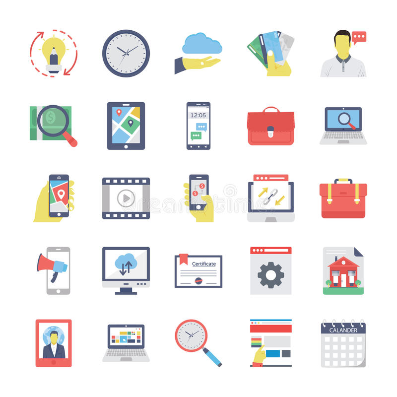 SEO and Marketing Colored icons Icons 3. Set of seo and marketing colored icons royalty free illustration