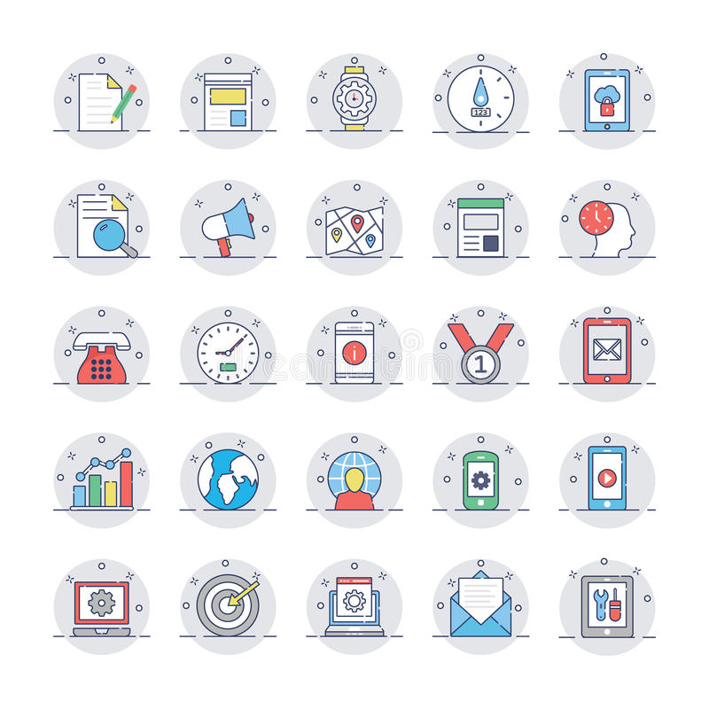 SEO and Marketing Colored icons Icons 2. Set of seo and marketing colored icons royalty free illustration