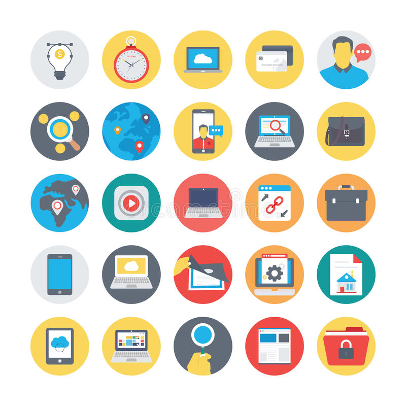 SEO and Marketing Colored icons Icons 3. Set of seo and marketing colored icons stock illustration